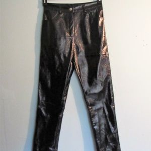 Juniors High Rise Shiny Black Pants  Sz Sm 26x26